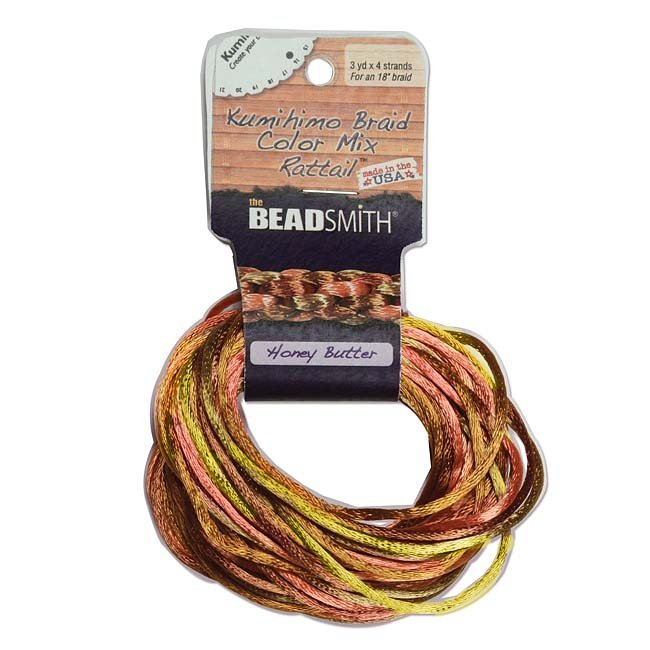 Beadsmith Satin Rattail Braiding Cord 2mm Honey Butter Mix 4 Colors - 3 Yds Each