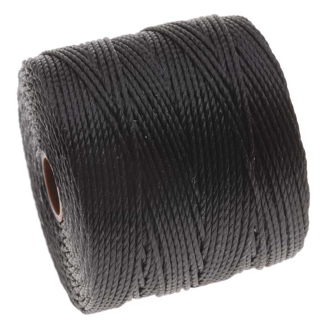 Super-Lon (S-Lon) Cord - Size 18 Twisted Nylon - Black / 77 Yard Spool