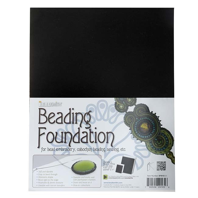 The Beadsmith Beading Foundation  - For Embroidery Work - Black 11x8.5 Inches