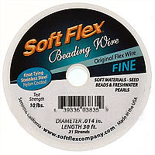 Soft Flex, 21 Strand Fine Beading Wire .014 Inch Thick, 30 Feet, Satin Silver