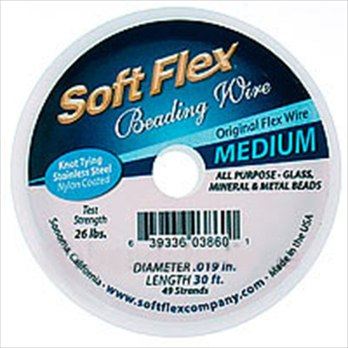 Soft Flex, 49 Strand Medium Beading Wire .019 Inch Thick, 30 Feet, Satin Silver
