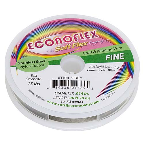 Soft Flex, Econoflex 7 Strand Fine Beading Wire  .014 Inch Thick, 30 Feet, Steel Gray