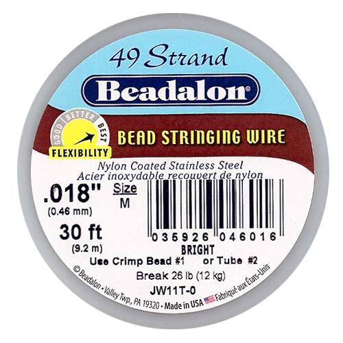 Beadalon Wire Standard Bright 49 Strand .018 Inch / 30Ft