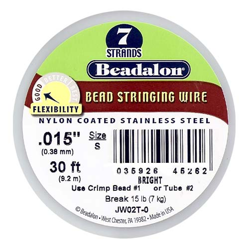 Beadalon Wire Standard Bright 7 Strand .015 Inch / 30 Feet