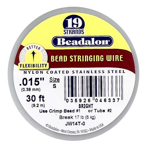 Beadalon Wire Standard Bright 19 Strand .015 Inch / 30Ft