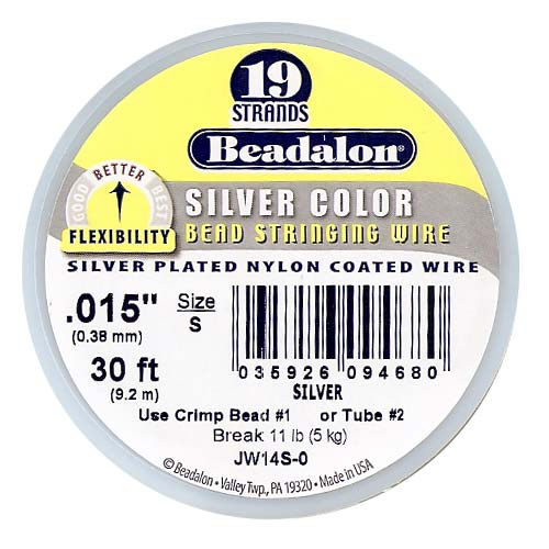Beadalon Beading Wire Silver Color 19 Strand .015 Inch / 30 Feet