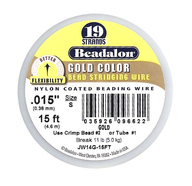 Beadalon Beading Wire Gold Color 19 Strand .015 Inch / 15 Feet