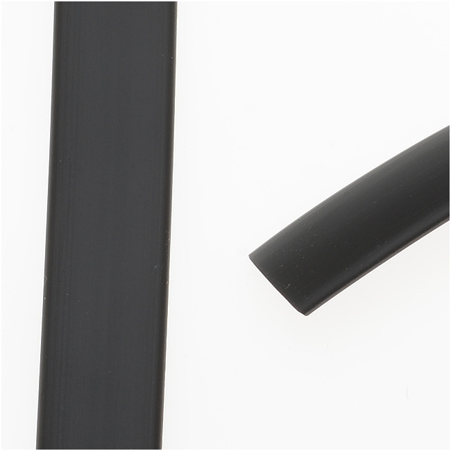 Final Sale - Synthetic Rubber Cord, Flat 10x1.9mm, 1 Meter, Black