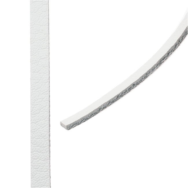 Flat Faux Leather Cord, 5x1.5mm, 1 Meter, White