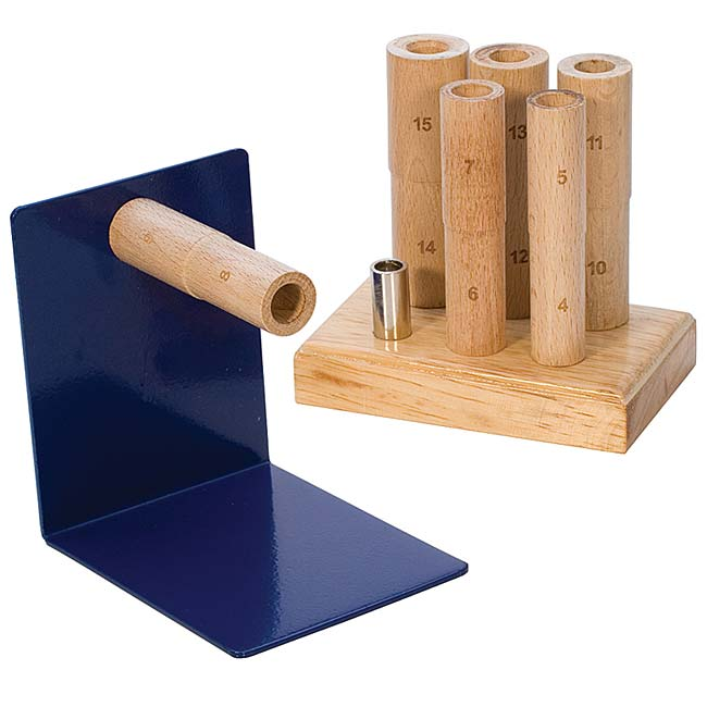 Stepped Wooden Ring Multi Mandrel Set With Steel Base For Metal Clay Includes Stand For Mandrels