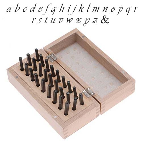27 Pc Lowercase Vivaldi Script Alphabet Letter Punch Set For Stamping Metal In Wood Box 1/8 Inch 3mm
