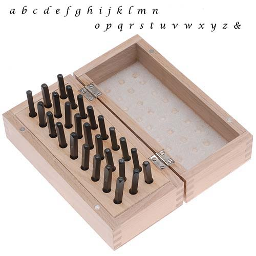 27 Pc Lowercase Lucida Calligraphy Alphabet Letter Punch Set For Stamping Metal In Wood Box 3mm