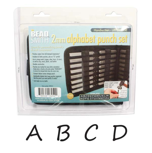 The Beadsmith 27 Piece Uppercase Handwritten Alphabet Letters A-Z Punch Set For Metal 2mm