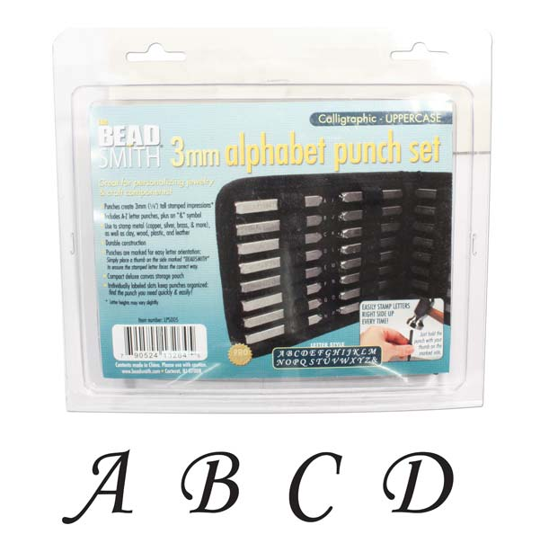 Beadsmith 27 Piece Uppercase Calligraphy Alphabet Letters Punch Set For Metal 3mm