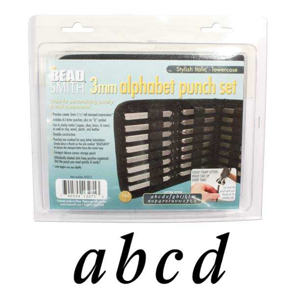 The Beadsmith 27 Piece Lowercase Stylish Italic Alphabet Letters A-Z Punch Set For Metal 3mm