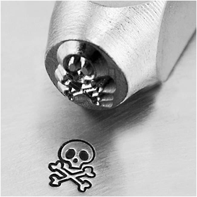 ImpressArt Metal Punch Stamp 'Skull & Bones' 6mm (1/4 Inch) Design - 1 Piece