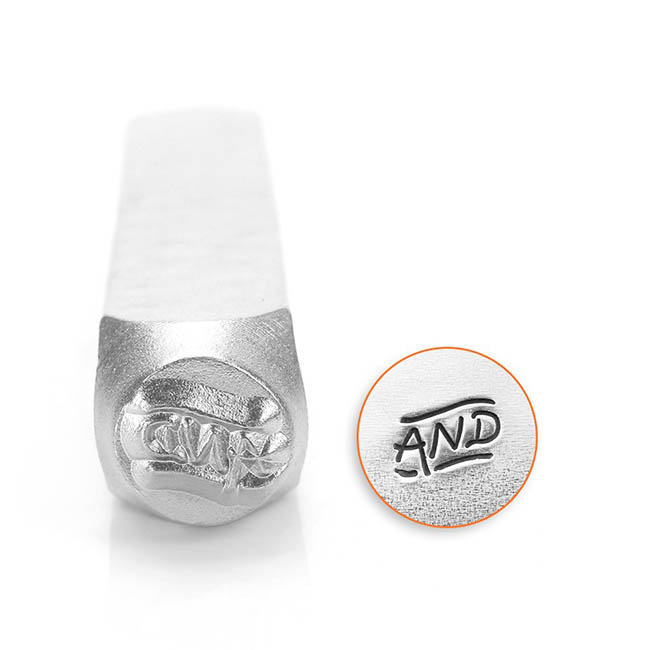 Final Sale - ImpressArt Metal Punch Stamp, Fancy AND Text Design 6mm (1/4 Inch), 1 Piece, Steel