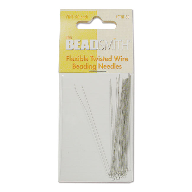 The Beadsmith Beading Needles, Flexible Twisted Wire FINE, 50 Pack