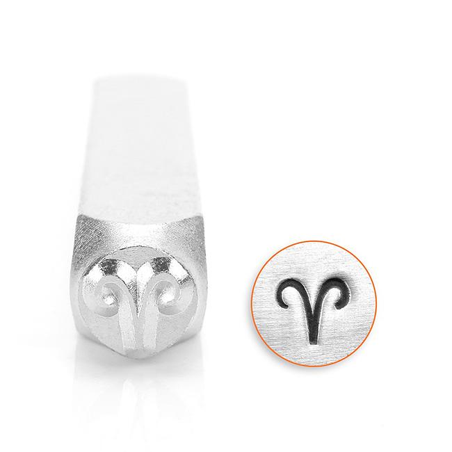 ImpressArt Metal Punch Stamp, Aries Symbol 6mm (1/4 Inch), 1 Piece, Steel