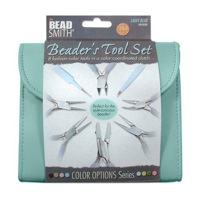 The Beadsmith 8 Piece Plier & Tweezer Set Light Blue Jeweler's Tool Kit With Travel Case