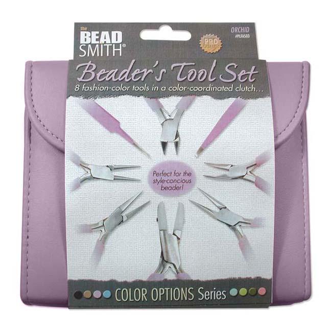 The Beadsmith 8 Piece Plier & Tweezer Set Light Orchid Purple Jeweler's Tool Kit With Travel Case