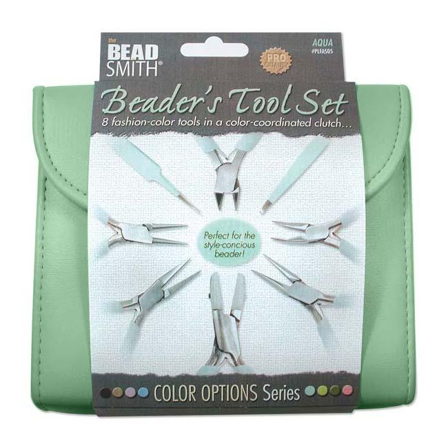 The Beadsmith 8 Piece Plier & Tweezer Set Aqua Green Jeweler's Tool Kit With Travel Case