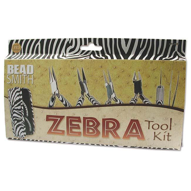 The Beadsmith Zebra Tool Kit - 6 Piece Kit With Case