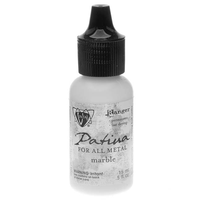 Vintaj Patina Opaque Permanent Ink - Marble White - 0.5 Ounce Bottle