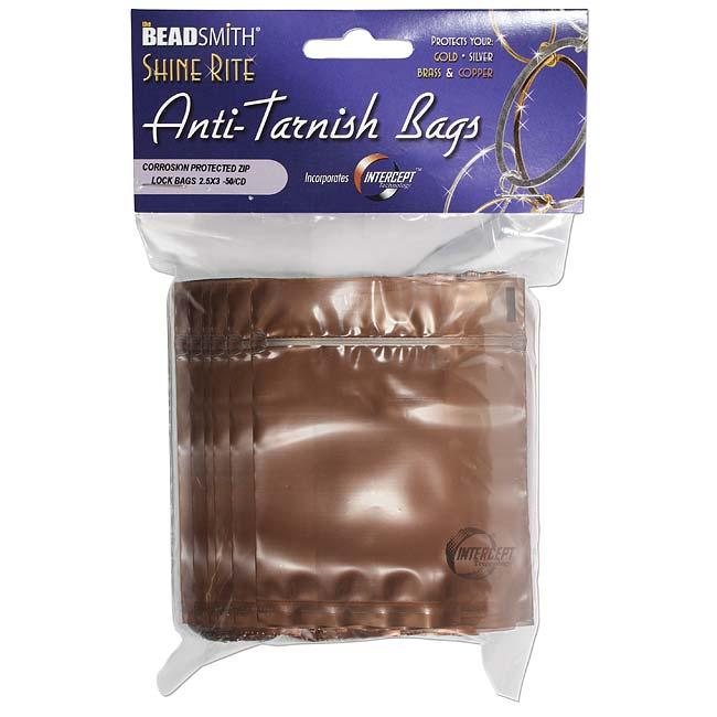 The Beadsmith Shine Rite Anti-Tarnish Self Sealing Plastic Bags 2.5 x 3 Inches (10 Bags)