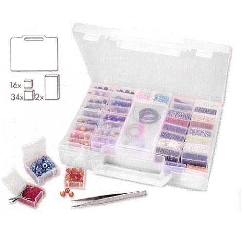 The Beadsmith Portable Bead & Jewelry Storage Box With 52 Removable Compartments