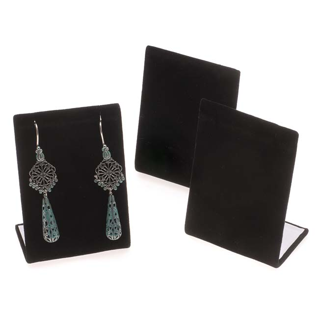 Black Velvet Leaning Earring Stands / Jewelry Displays 3.5 Inches Tall (3)