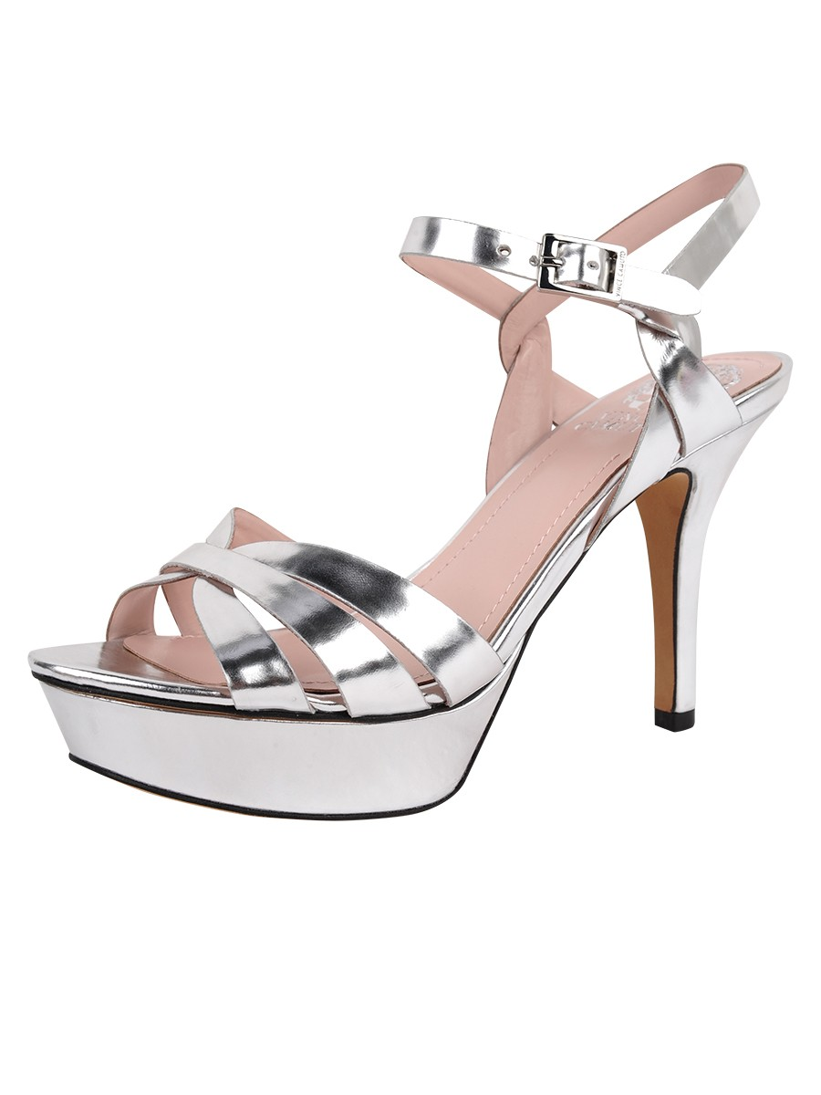 Vince Camuto Peppa Strappy High Heel Sandal Silver Gleam