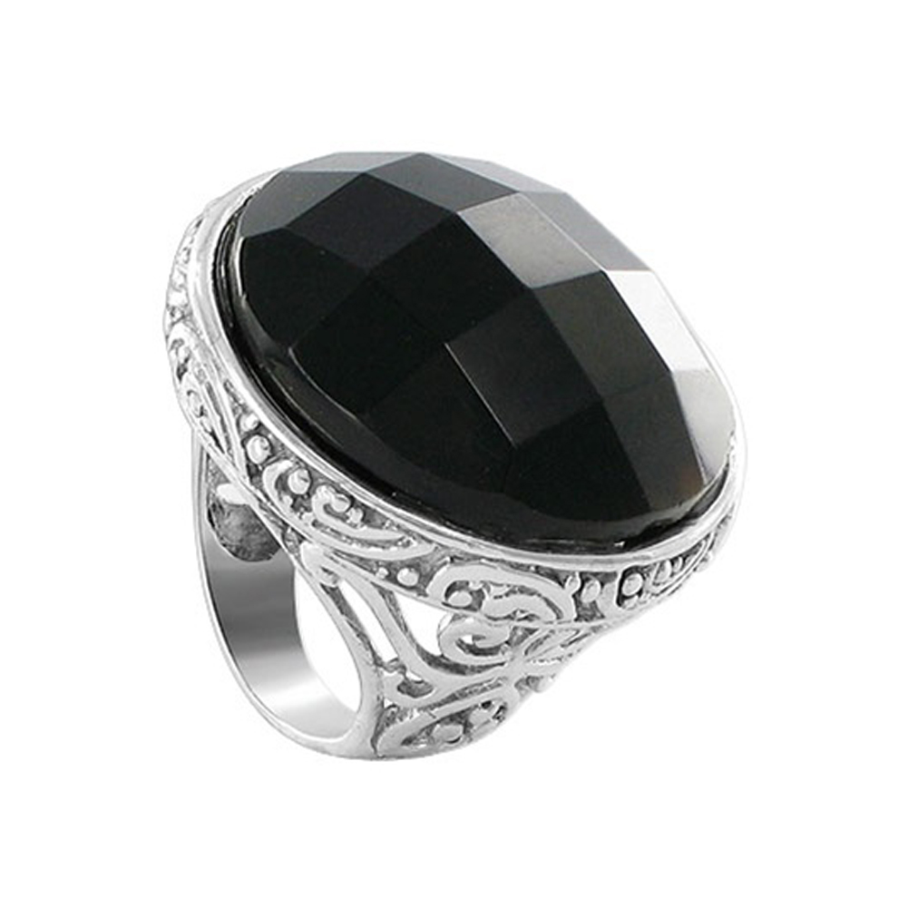 Gem Avenue AFRS010 Sterling Silver 28mm Round Multifaceted Black Onyx Gemstone Ring 6 to 9 at Sears.com