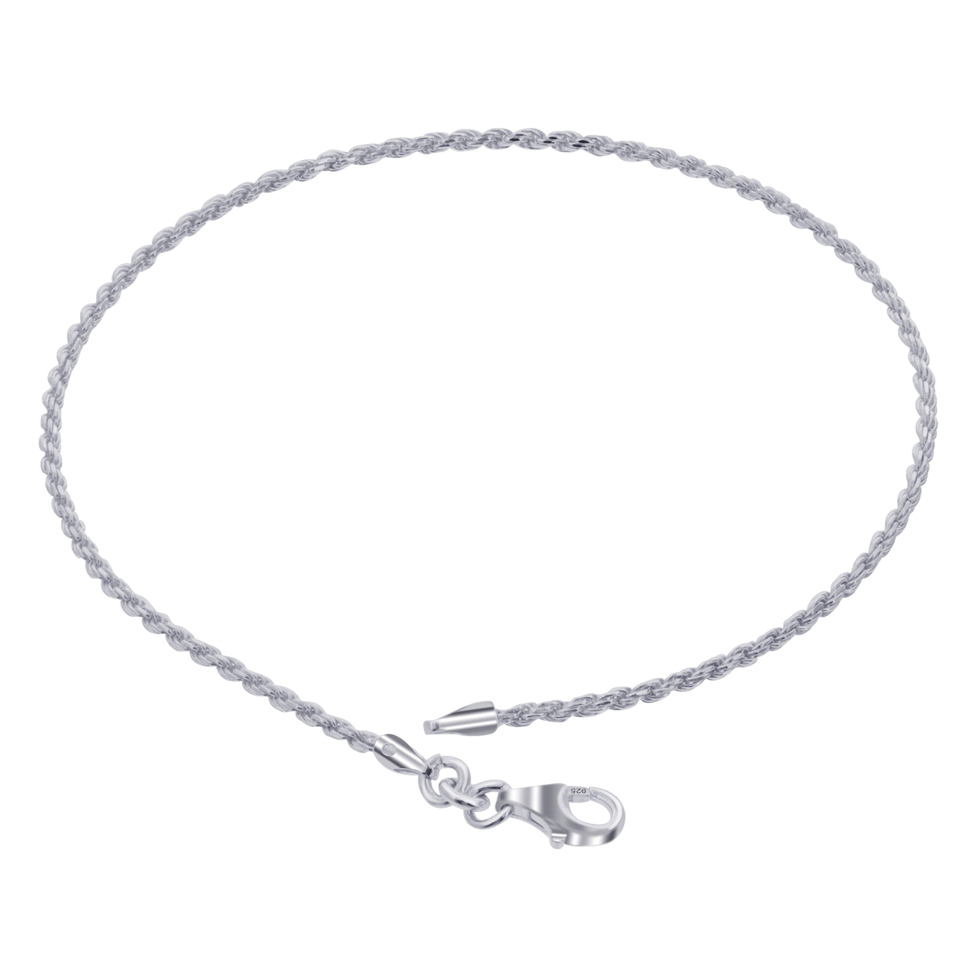 925 Sterling Silver Rope Chain Anklet Ankle Bracelet with Lobster Clasp #bda014