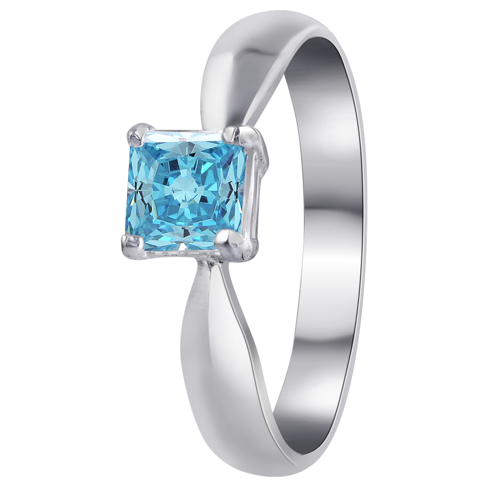 Gem Avenue 925 Sterling Silver Band Princess Cut Blue Cubic Zirconia Ring Size 5, 6, 7, 8, 9, 10 at Sears.com