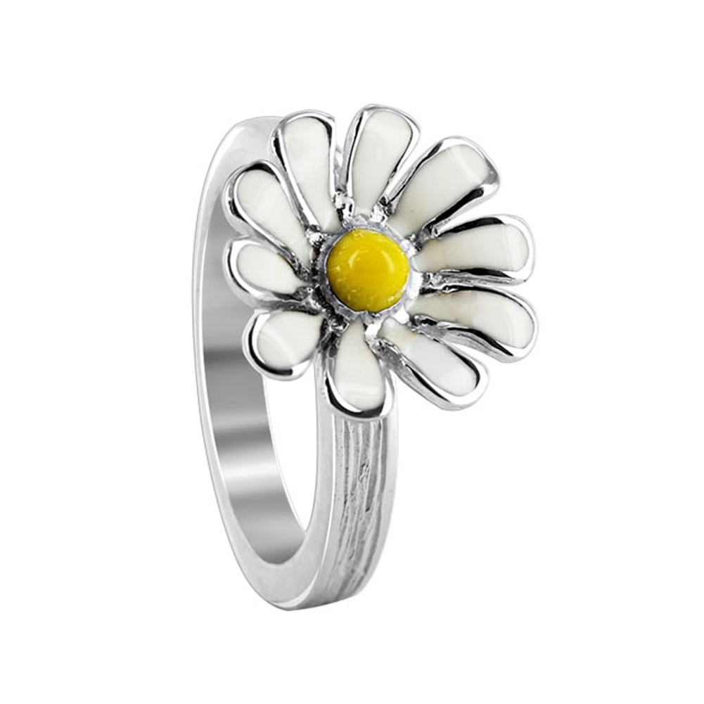 Gem Avenue Sterling Silver 14mm Daisy Flower with White and Yellow Enamel 3mm Texture finish Band Ring at Sears.com