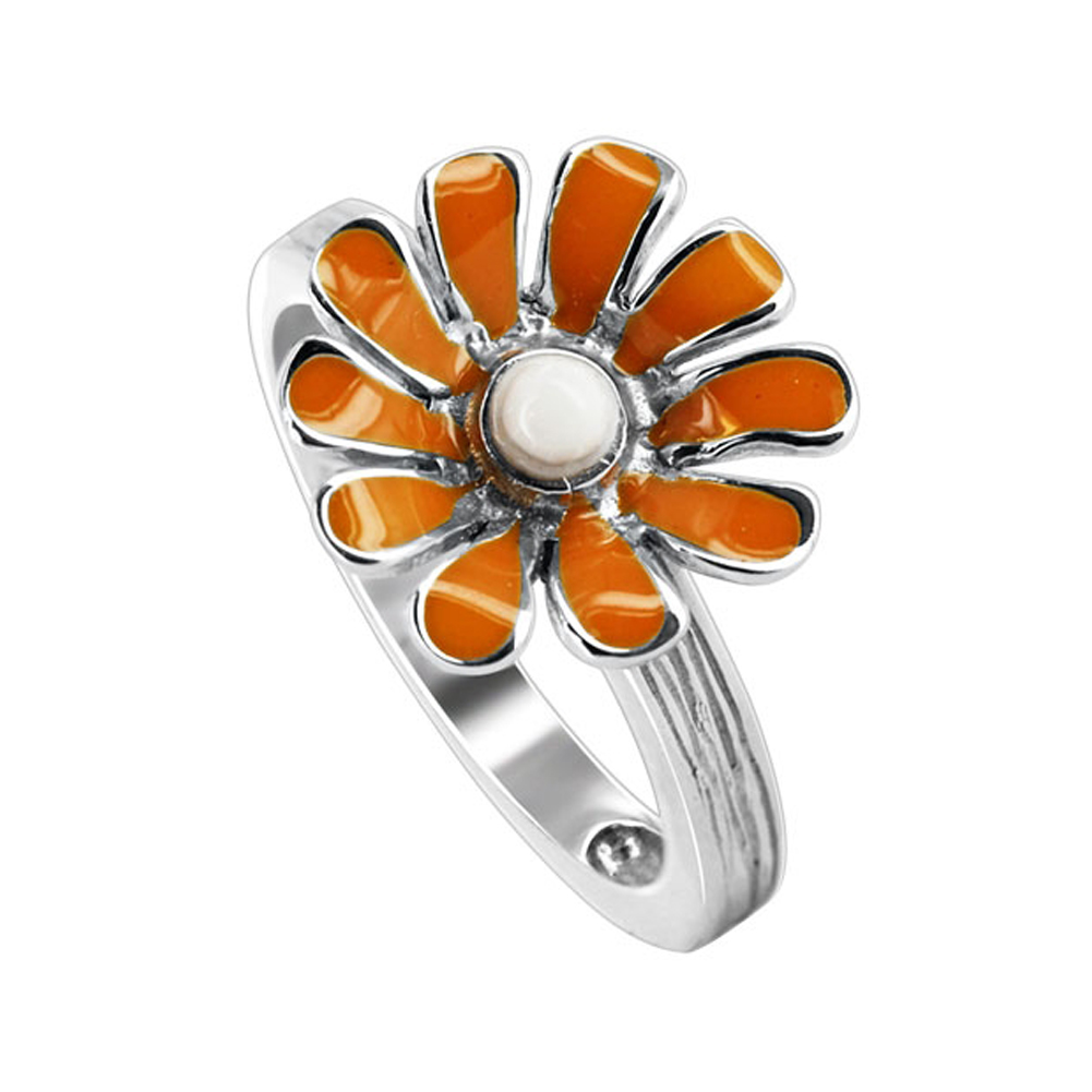 Gem Avenue Sterling Silver 14mm Daisy Flower with Orange and White Enamel 3mm Texture finish Band Ring at Sears.com