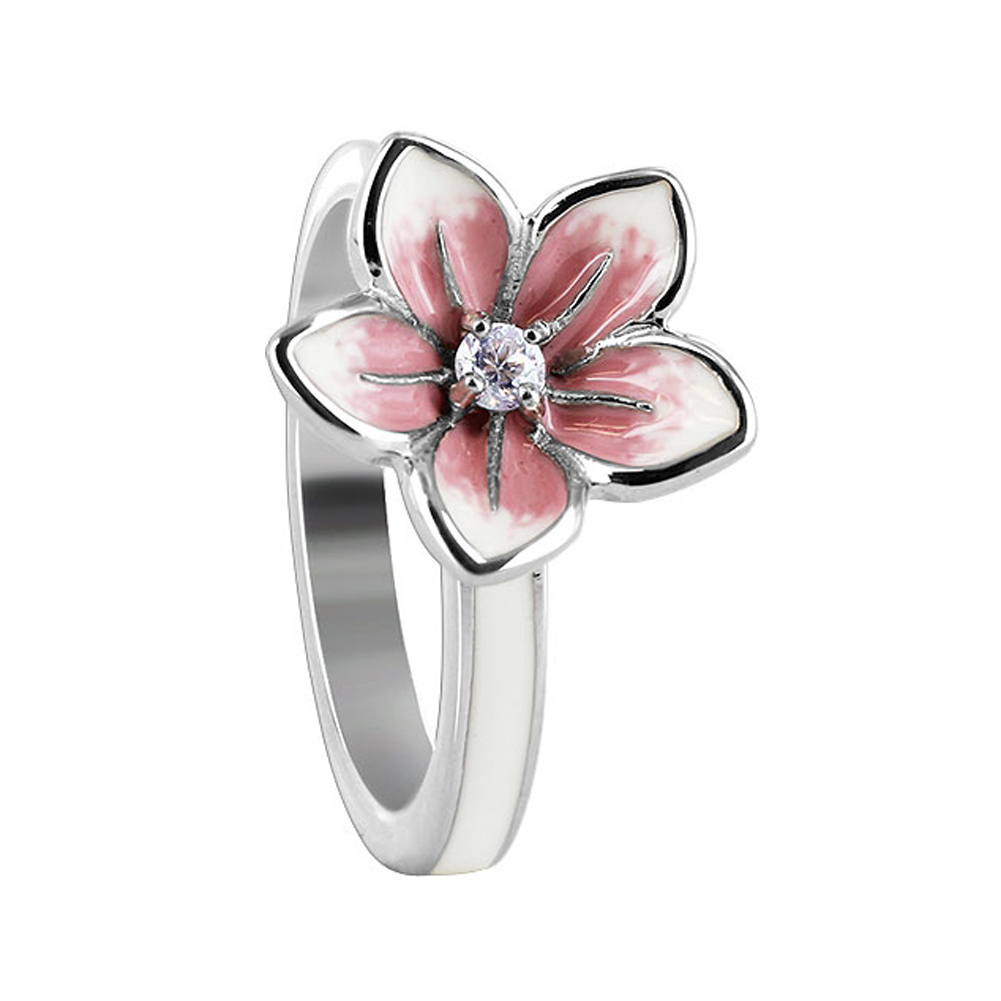 Gem Avenue Sterling Silver White and Pink Enamel 13mm Flower with Clear Cubic Zirconia 3mm Band Ring at Sears.com