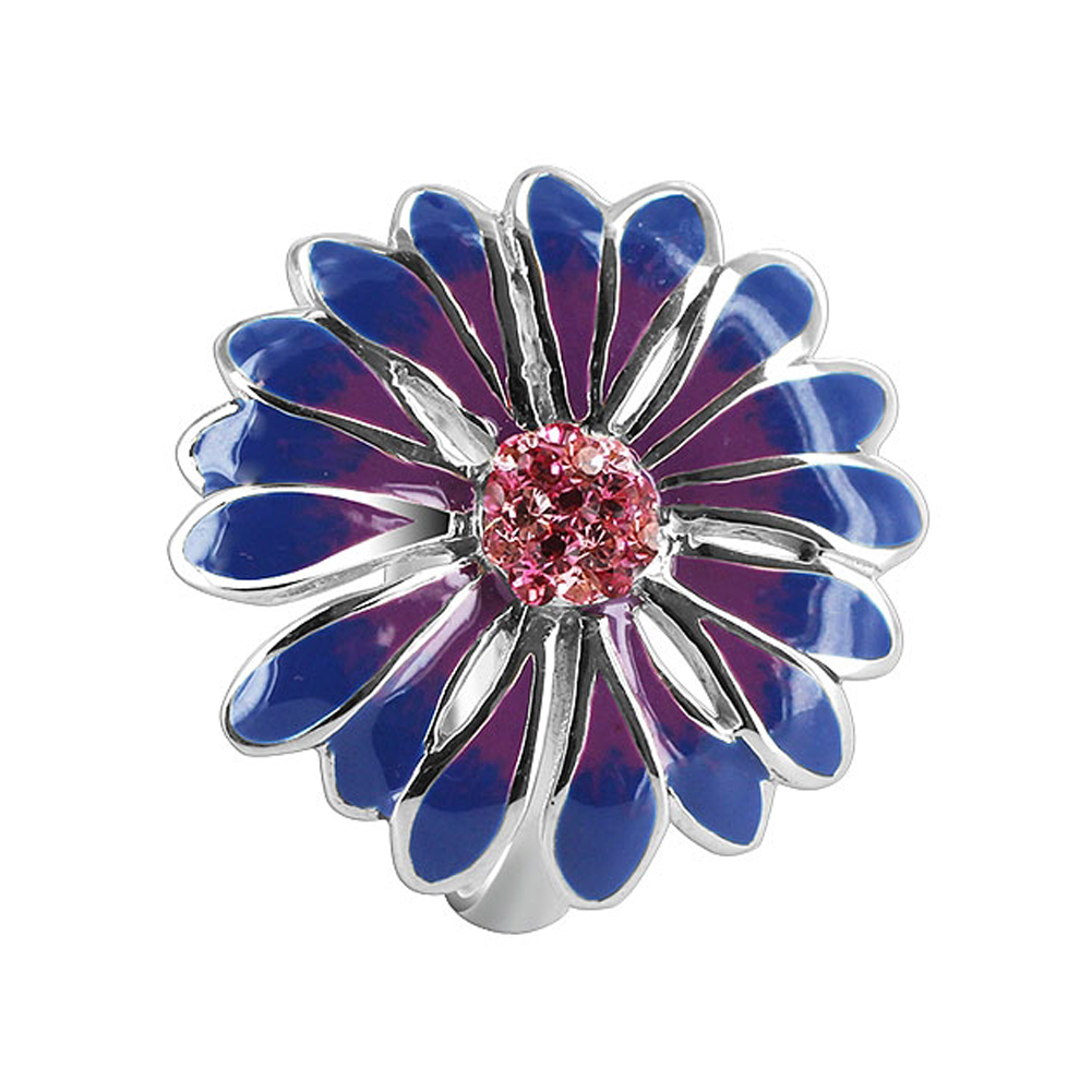 Gem Avenue Sterling Silver Blue and Purple Enamel 23mm Flower with Light Rose Cubic Zirconia 3mm Band Ring at Sears.com