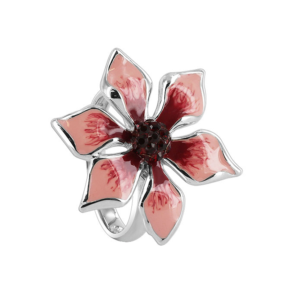 Gem Avenue Sterling Silver Pink and Red Enamel 24mm Flower with Garnet Cubic Zirconia 2mm Band Ring at Sears.com