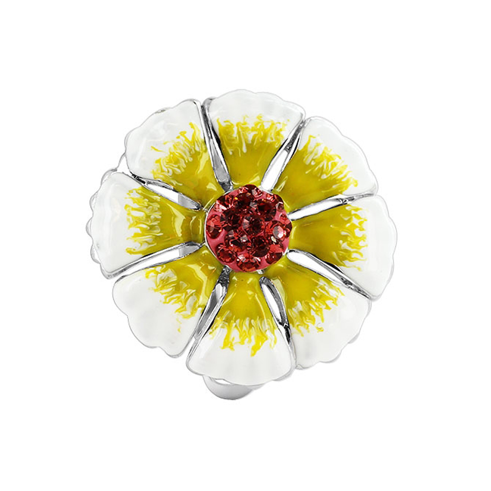 Gem Avenue Sterling Silver White and Yellow Enamel 21mm Flower with Cubic Zirconia 3mm Band Ring at Sears.com