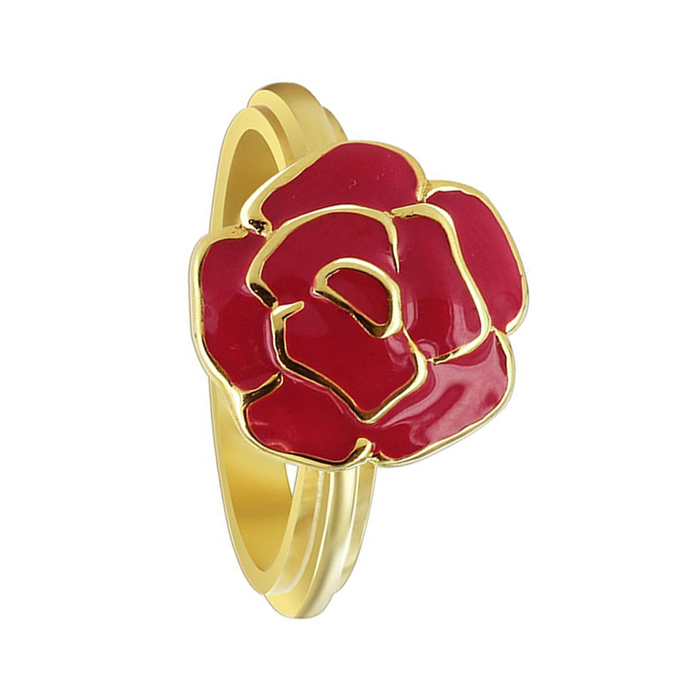 Gem Avenue Gold Plated Silver Red Enamel 13mm Rose Flower Design 3mm Band Ring at Sears.com