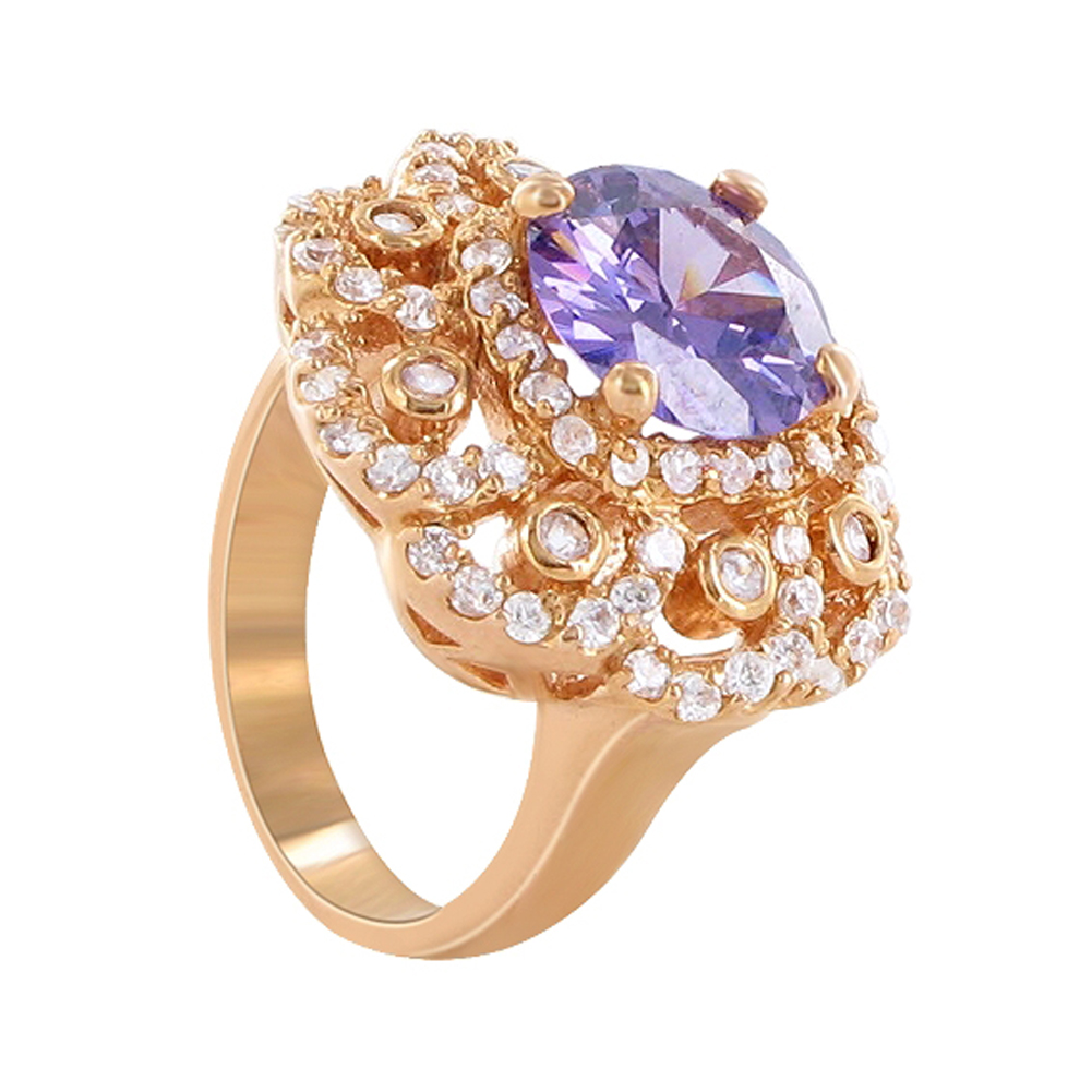Gem Avenue Rose Gold Round Shape Amethyst Cubic Zirconia 3mm Band 23mm Diameter Flower Design Ring Size 6 to 6.5 at Sears.com