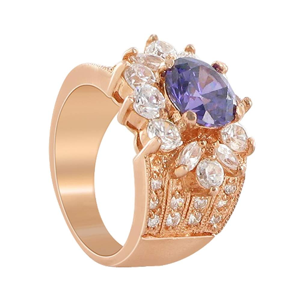 Gem Avenue Flower Design Rose Gold Layered Amethyst Cubic Zirconia 0.75 inch wide 0.5 inch Long Ring Size 6 to 6.5 at Sears.com