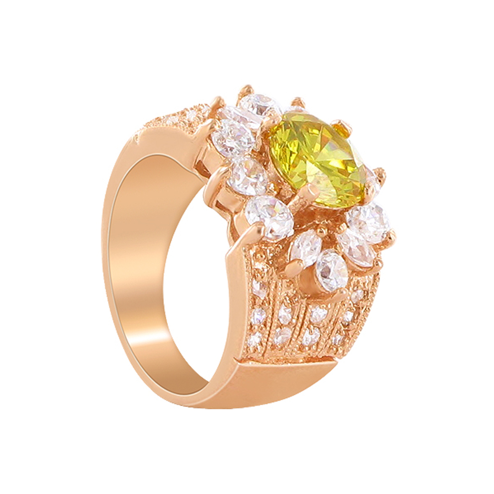 Gem Avenue CLRS081-6 Flower Design Rose Gold Layered Citrine CZ 0.75 x 0.5 inch Ring Size 6 at Sears.com