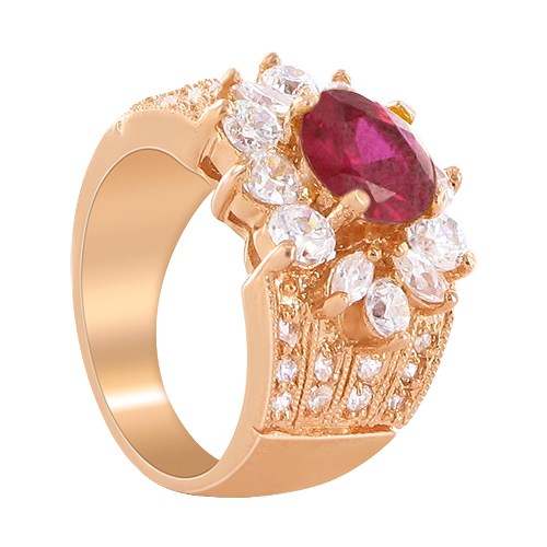 Gem Avenue CLRS088-6.5 Flower Design Rose Gold Layered Garnet CZ 0.75 X 0.5 Ring Size 6.5 at Sears.com