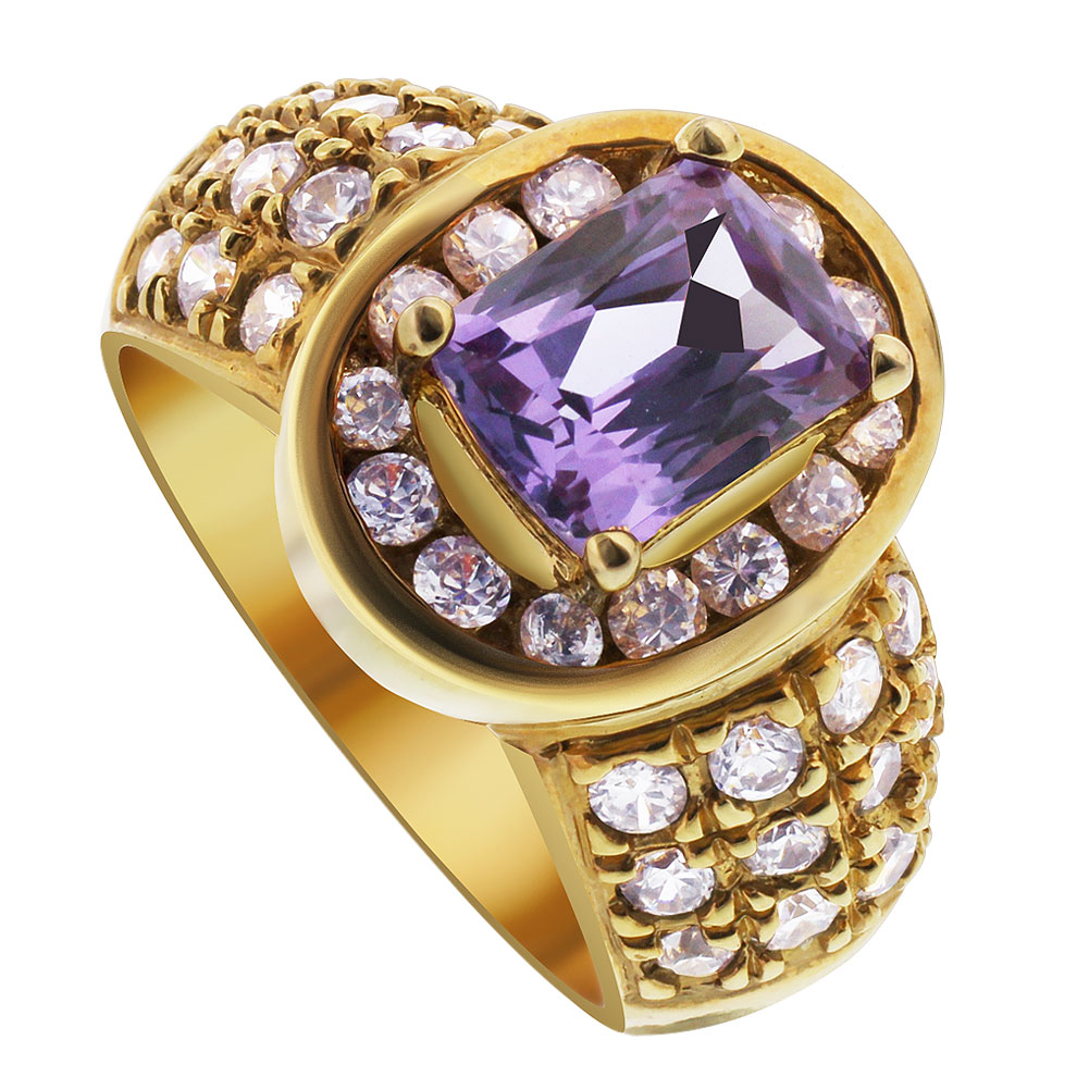 Gem Avenue Gold Over Sterling Silver Oval Cut with Rectangle Simulated Amethyst Stone Ring Size 7
