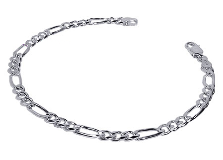 Gem Avenue Sterling Silver 4mm Figaro Link Unisex Bracelet 7, 8, 9 Inch With Lobster Clasp at Sears.com