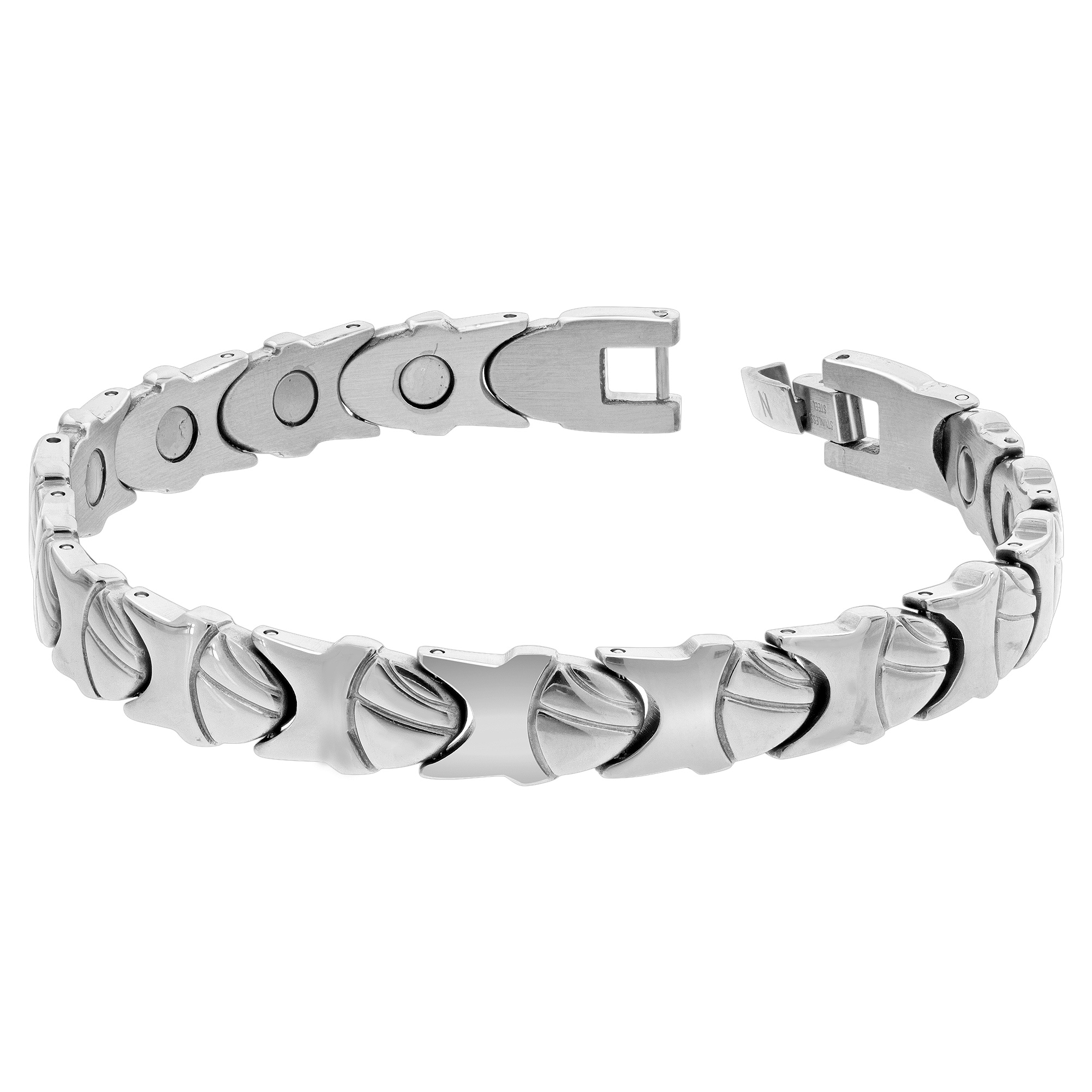 Gem Avenue Stainless Steel Womens Magnetic Bracelet 7.75 inch Long with Fold over Clasps at Sears.com