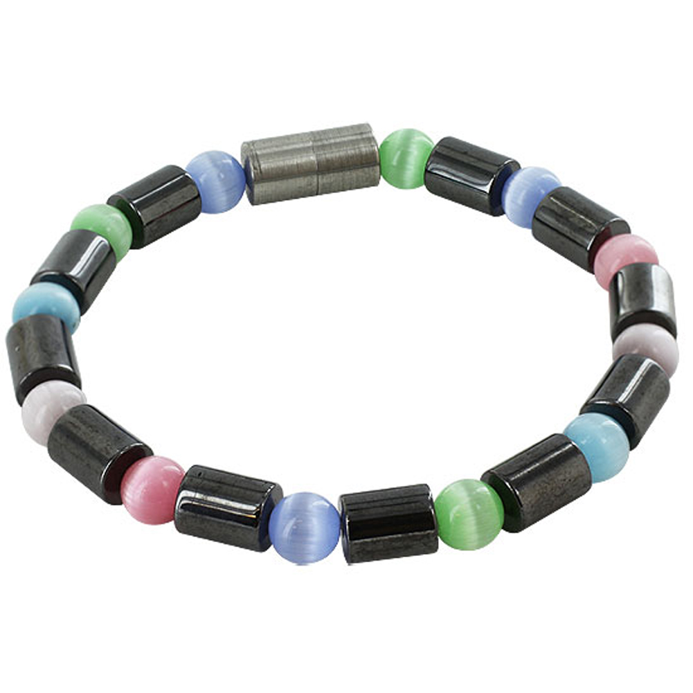 "Gem Avenue Bracelet Cats Eye & Simulated Hematite Beads 6.5"" 7.5"" Bracelet Magnetic Clasp at Sears.com"